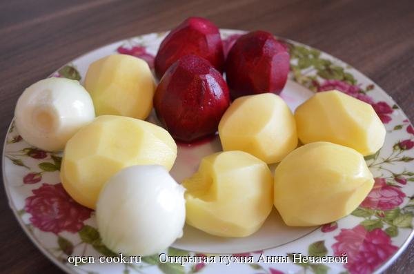 Картофель и свекла в сливках
