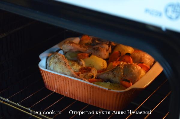 Запеченные куриные ножки с молодым картофелем