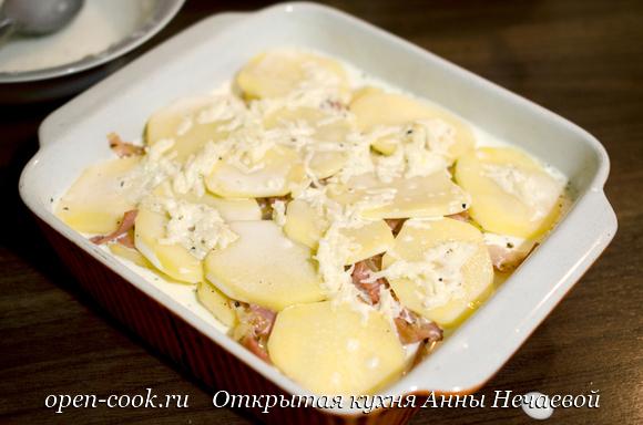 Картофельный гратен с беконом